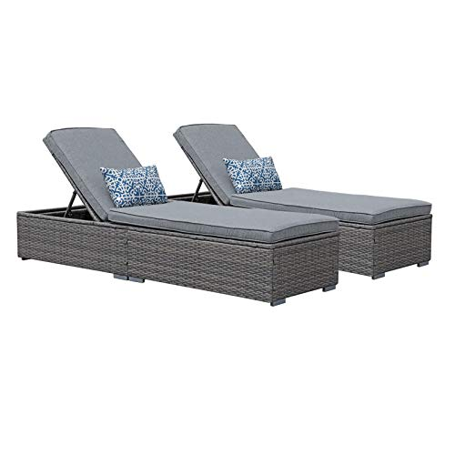 Patiorama Outdoor Patio Chaise Lounge Chair, Elegant Reclining Adjustable Pool Rattan Chaise Lounge Chair with Cushion, Grey PE Wicker, Steel Frame,Light Grey, Set of 2