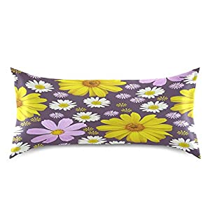 Silk Flower Arrangements Blueangle Flowers Cosmos Pillowcase with Envelope Closure for Hair and Skin, Soft Breathable Smooth Both Sided Silk Pillow Cover(King 20''×40'',1pcs)