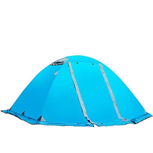 BLWX - Tienda de campaña al Aire Libre Camping Doble Doble Poste de Aluminio Cuenta Four Seasons Lluvia y Nieve con Falda de Nieve Senderismo Camping Pareja 210x150x120cm Tienda (Color : Azul)