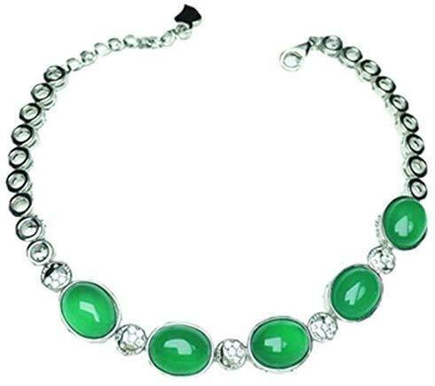 Collar de Moda para Mujer Verde Natural de la calcedonia calcedonia Brazalete Pulsera Hembra Plata de Ley 925 Pulseras de Plata Pulseras de Plata de Ley Izar