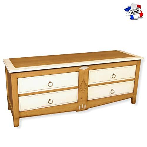 GONTIER TV-meubel garage – massief kersenhout – collectie Melanie – 100% gemaakt in Frankrijk 160x62x47 Merisier Fumé et Laque Blanc-crème