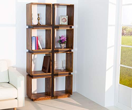 AISER Royal Massives Echt-Holz Palisander Bücher-Regal -Tacoma- aus besonders schön gezeichnetem Sheesham-Holz mit 8 Fächern und Lederoptik-Applikation in modernem zeitlosen Design   Höhe 181 cm