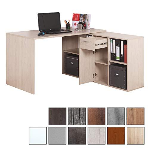 RICOO WM081-W, Schreibtisch, Holz Hell Weiß, Winkelkombination, Arbeitstisch, Bürotisch, Computertisch, Eckschreibtisch, Akten Schrank Lowboard