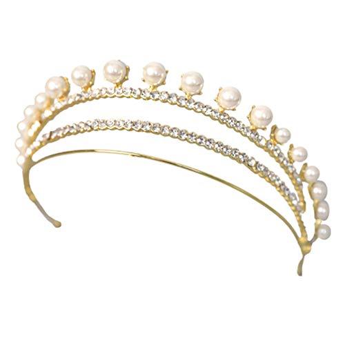 FRCOLOR Perla Rhinestone Corona de La Boda Novia Tiara Crystal Queen Coronas...