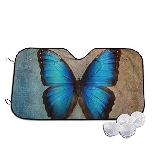 KEEDCE&FJE Blue Butterfly with Vintage Background Oil Paint Art Pattern Windshield Sun Shade Universal Car Sunshade 30 X 55 in Sunshades Car Sun Visor-Keep Your Vehicle Cool