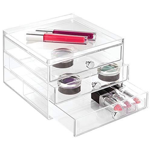 iDesign Drawers Make-Up-Organizer | schmale Aufbewahrungsbox für Schminke, Kosmetika & Co. | Schubladenbox mit 3 Schubladen | Kunststoff transparent