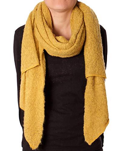Eitex Damen offener kuscheliger Schal XXL Schal sanftes Material Viskose und Wolle Gemisch warm Stola (Senf)