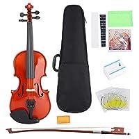 ディルウェ1/8バイオリンフィドルウッド1/8スケールバイオリンボックスロジンストリングスケールステッカーセットストリング楽器ギフト初心者向け