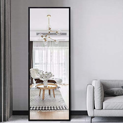 PexFix 51x16 Inch Rectangle Full Length Hanging Mirror, Metal Matte Frame Wall-Mounted Door Mirror Dressing Floor Mirror for Home Decor - Matte Black
