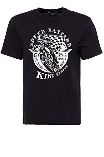 King Kerosin Herren Shirt Mit Front Print Speed Bastard Rundhals Kurzarm Print-Shirt Regular Fit Bedruckt Abgesteppte Kante Speed Bastard