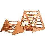 Kletterdreieck - Indoor- für Babys, Kleinkinder, Kinder Aktivspielzeug - Starker Rahmen, Sportausrüstung zweiteilig groß und klein, Spielnetz - Indoor-Spielplatz, Spielturm, Kletterturm für Kinder.