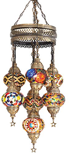 (Choose from 12 Designs) Turkish Moroccan Mosaic Glass Chandelier Lights Hanging Ceiling Lamps