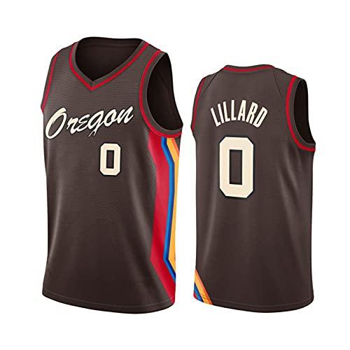 Maglia da basket City Edition da uomo - Portland Trail Blazers #0 T-shirt in rete Damian Lillard Canotta da basket traspirante,Maglia sportiva Swingman ricamata a maniche corte,Marrone,M
