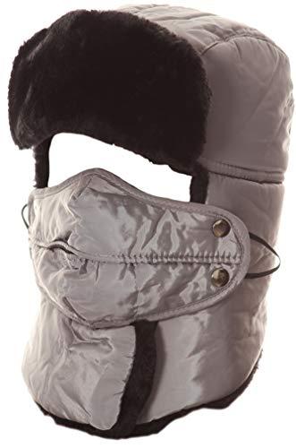 Sakkas 16162 - Dab Unisex Faux Fur Chin Tracolla Staccabile della Maschera di Inverno Freddo Trooper Cappello - Grigio - OS