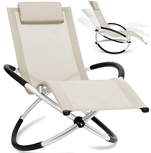 KESSER® Relaxliege Liegestuhl | Gartenliege Sonnenliege | Gartenstuhl | Klappstuhl faltbar | Schwungliege | Schaukelsessel | ergonomische Relaxsessel | wetterfest | 180 kg Belastung Beige