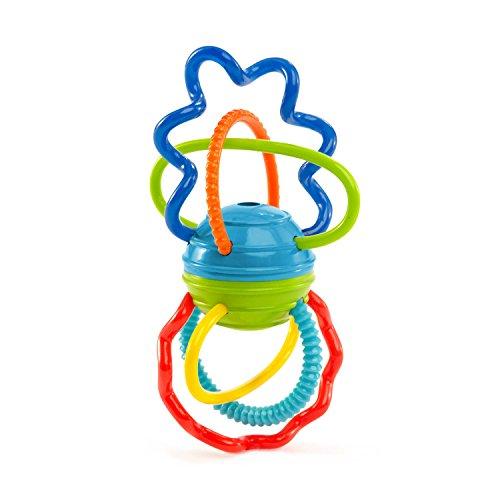 Oball Clickity Twist Greifspielzeug mit Beißringen und Ball, aus flexiblem, leicht zu greifendem Material mit unterschiedlichen Texturen