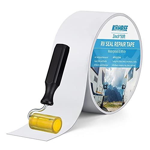 Kohree 強力補修テープ 防水 ブチルテープ 耐熱 粘着テープ ダクトテープ ローラー付き 屋外 屋内 家庭 工業 多用途 壁 台所 浴槽 お風呂 水道 屋根 水漏れ 雨漏り 5cm x 15m 白 1年安心サービス