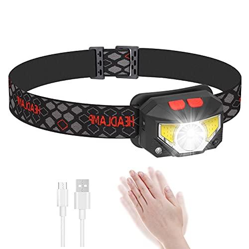 FENGZHU Linterna frontal LED recargable por USB, muy brillante, 1500 lúmenes, con sensor de movimiento y luz roja, para correr, correr, pesca, camping, niños