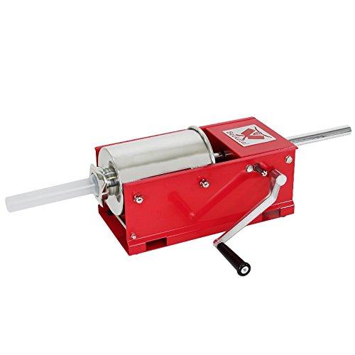 Beeketal \'MTH03\' Profi Gastro Wurstfüllmaschine (3 Liter/horizontal) SGS-geprüft, Wurstfüller mit 2 Gang Vollmetall-Getriebe und Handkurbel, Gehäuse aus Stahl (rot lackiert), inkl. 4 Fülltüllen