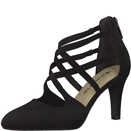 Tamaris Damen Pumps, Frauen Riemchen Pumps, Sandaletten überkreuzte elegant fein feminin weiblich Lady Ladies Women's Women,Black,41 EU / 7.5 UK