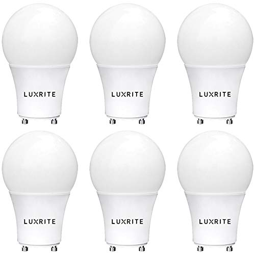 Luxrite GU24 LED A19 Light Bulb, 60W Equivalent, 2700K Soft White, Dimmable, 800 Lumens, LED GU24 Bulb, 9W, Enclosed Fixture Rated, UL Listed, Perfect for Ceiling Fans and Outdoor Fixtures (6 Pack)