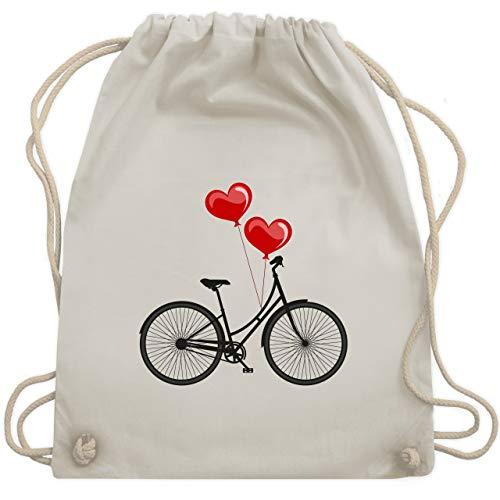 Shirtracer Statement - Fahrrad Herz Luftballons - Unisize - Naturweiß - fahrrad turnbeutel - WM110 - Turnbeutel und Stoffbeutel aus Baumwolle