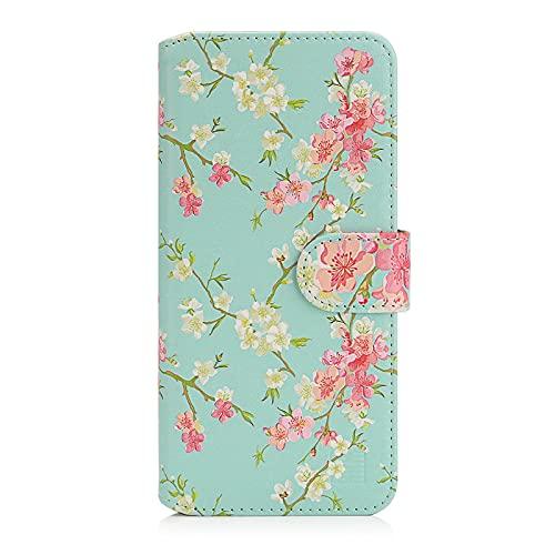 32nd Blumen Series 2.0 - PU Leder-Mappen-Hülle Hülle Cover für Motorola Moto E6 Plus, Blumendesign hüllen Entwurf gemacht Mit Kartensteckplatz & Magnetverschluss - Frühlings-Blau