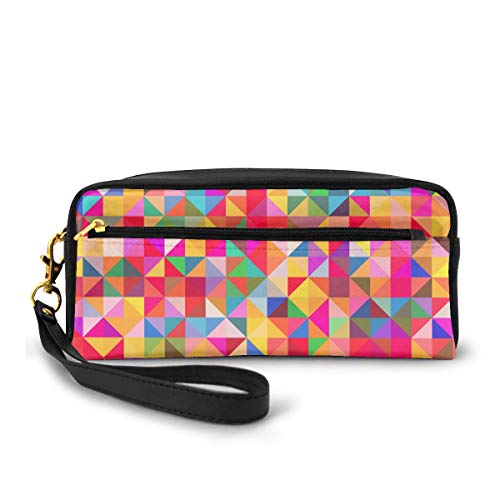 AHOOCUSTOM Abstract Colorful Geometric Makeup Bag, Elegant Toiletry Cosmetic Bags Pouch Organizer Pencil Case For Girls Women Adults