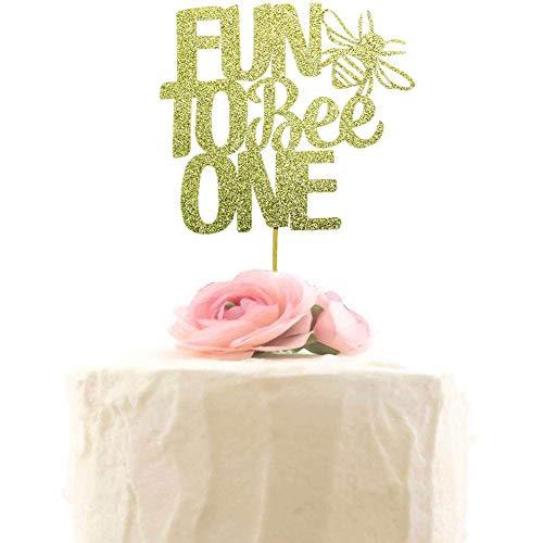 """Decoración para tarta con diseño de abejorro y texto en inglés """"Fun To Bee One Cake Toppers - Decoración para fiesta de cumpleaños con diseño de abejorro"""