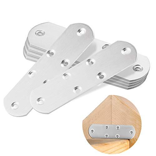 6 Stücke Lochplatte Flachverbinder, Edelstahl Flache Ecke Bracket, Ausbessern Flat Plate Bracket mit 40 Stück Schrauben für holz und möbel(125 * 37 * 2 .3mm)
