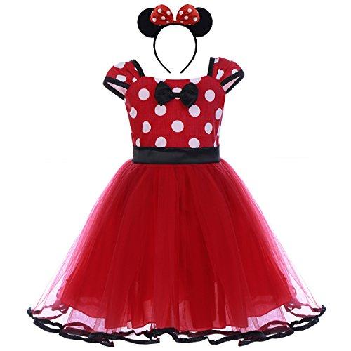 IBTOM CASTLE Vestiti Carnevale per Bambina Fiore Ragazze Abiti Vestito Costume Principessa Balletto Tutu Danza Body Minnie Polka DOT Rosso (B) 4-5 Anni