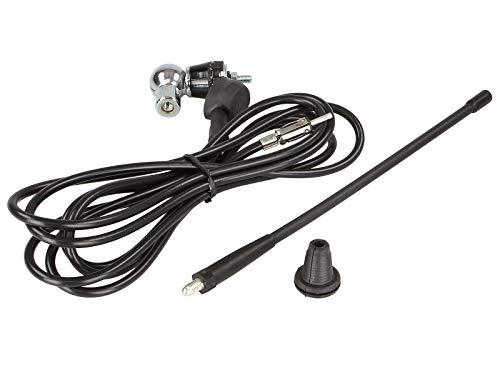 Antenne de toit AM/FM/ DAB+/ DIN M universelle flexible 0-180 Tige 25cm caoutchouc noir