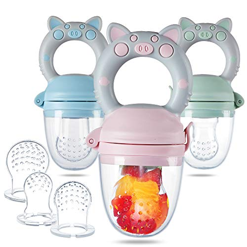 Eco inspired Baby Feeder - Piggy Handle Fresh Food Feeder & Teething Toys Fruit Pacifier for Teething Baby with Different Size of Silicone Pouch and Dust Caps 3 Pack