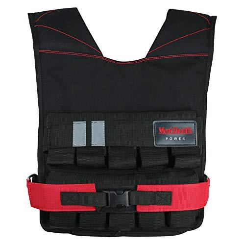 Chaleco lastrado para Hombre Health Power (Weight Vest) para Entrenamiento de Peso, Ejercicios de Entrenamiento de Fuerza, Rojo/Negro
