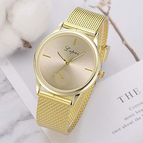 Uhren Lvpai Damen Einfache Quarz-Mesh-Gurt-Uhr (Silber) Asun (Color : Gold)
