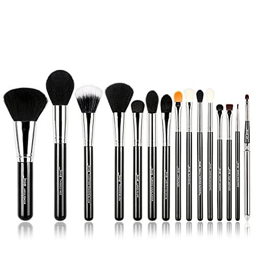 Jessup® - Juego de brochas de maquillaje, 15 piezas, brochas de maquillaje, maquillaje de base, base de polvo, sombra de ojos, delineador de ojos, brochas de labios (negro/plata) T092