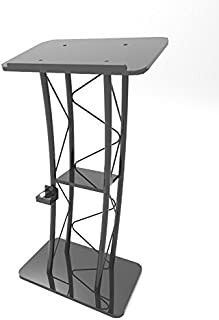 FixtureDisplays Curved Podium, Truss Metal/Wood Pulpit Lectern with A Cup Holder 11568-H