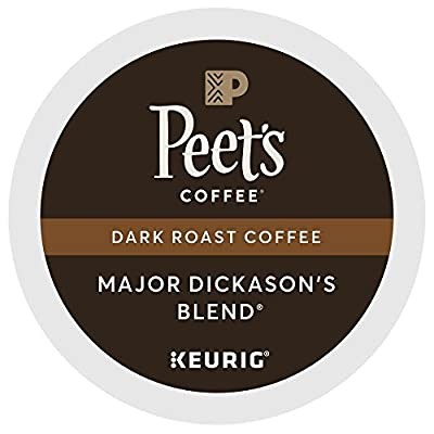 Peet's Coffee Major Dickason's Blend dark roast single serve capsules for Keurig K-Cup pods, 66 Count