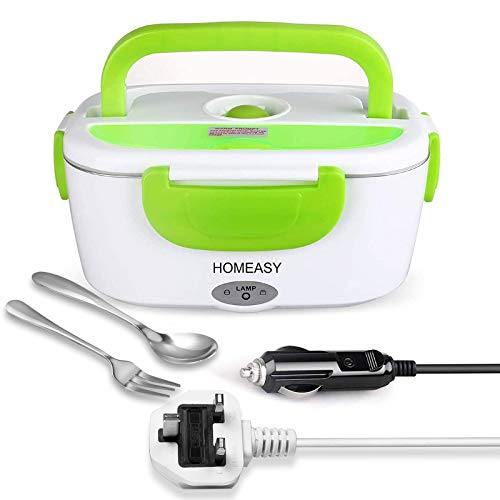 Electric Lunch Box, homeasy 2 in 1 Food Heater Warmer 1.5L Removable Food-Grade Stainless Steel Container Portable for Car, Office, School and Home Use 220V & 12V Spoon Green