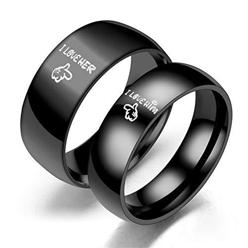 AueDsa Ring 1 Pair Ring Engraving I Love HER&I Love HIM Stainless Steel Rings Unisex Black Women Size P 1/2 & Men Size Z