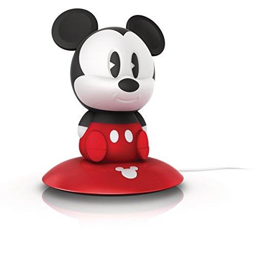 Philips Disney SoftPal Mickey Mouse - Lámpara portátil para niños, LED, con base de carga, luz blanca cálida, 0,18 W, color rojo, blanco y negro