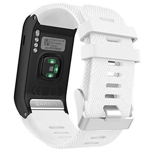 MoKo Garmin Vivoactive HR Cinturino, Braccialetto di Ricambio in Silicone per Garmin Vivoactive HR Smartwatch GPS, Bianco