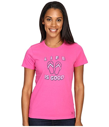 Life is Good Women's Flip Flops Crusher Tee, Bold Pink, Medium