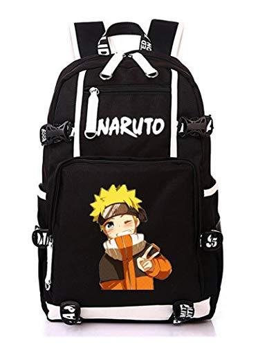 WANHONGYUE Naruto Anime Mochila Escolar Estudiante Bolso de Escuela Backpack Mochila para Portátil Negro-6
