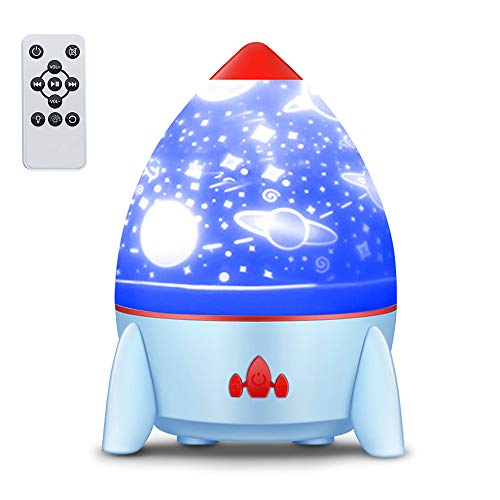LOBKIN Night Light Projector with Music Rocket Ocean Lights 8 Colors Changing Lamp 4 Music Rotating Remote Control and Timer...