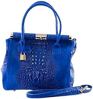 Italian Crocodile & Suede Electric Blue Handbag and Shoulder Bag