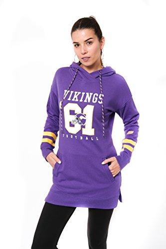 Icer Brands NFL Damen Slim Fit Tunika Pullover Hoodie Sweatshirt, NFL Damen Fleece Tunic Pullover Hoodie Sweatshirt, JTL2188A-MV-Large, violett, L