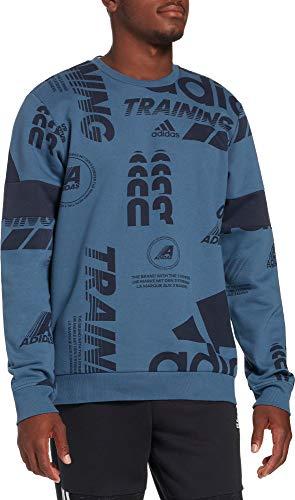 adidas Herren Post Game Allover Print Crewneck Sweatshirt, Herren, Tech Ink, X-Large