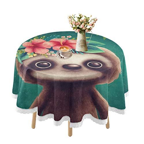 Mantel impermeable para mesas redondas, manteles de encaje para mesa de comedor al aire libre, lavable, para fiestas, cocina, 152 cm