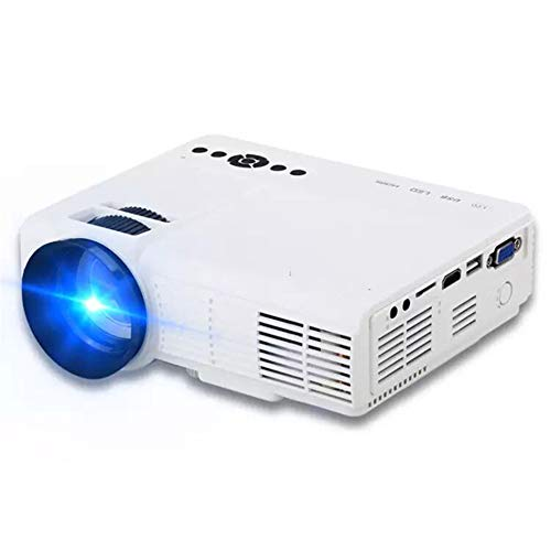 LG&S Mini Proyector Portátil Home Party Meeting Theater Full Color 1080P Video LED Proyector Compatible con HDMI, USB, SD con Control Remoto,Blanco